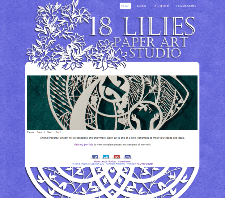 18 lilies paper art studio website