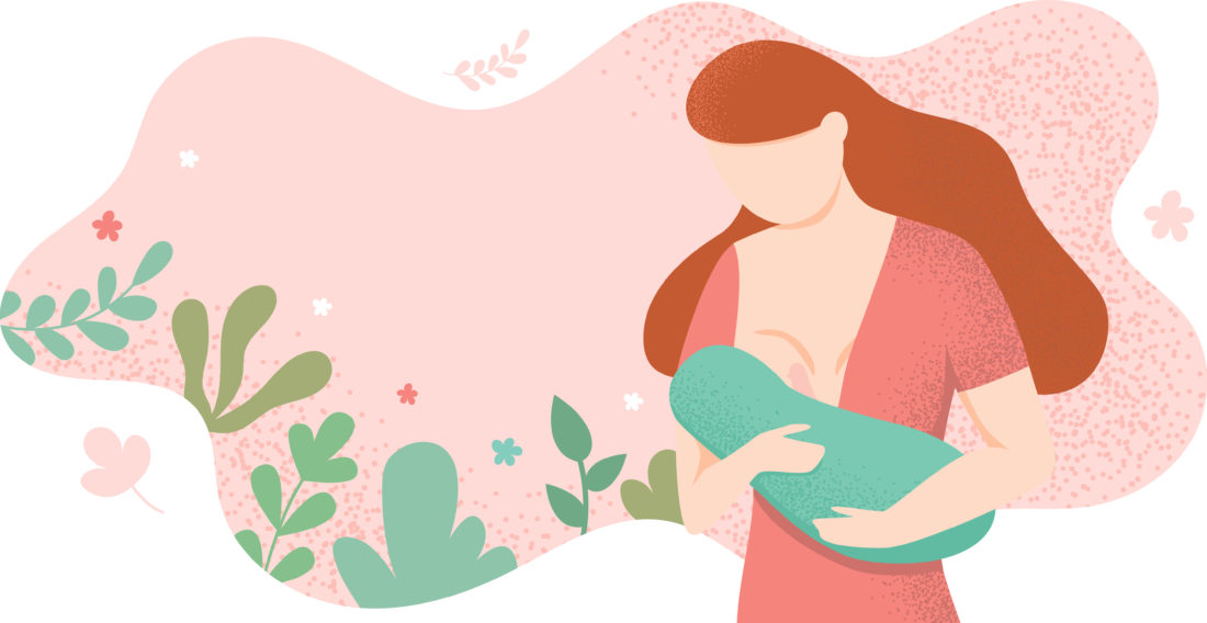 drawing of mother nursing baby with floral background