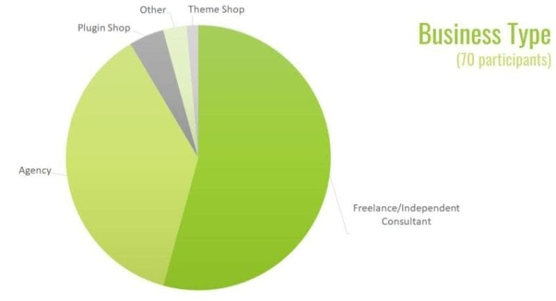 work/life balance survey participant business type - pie chart