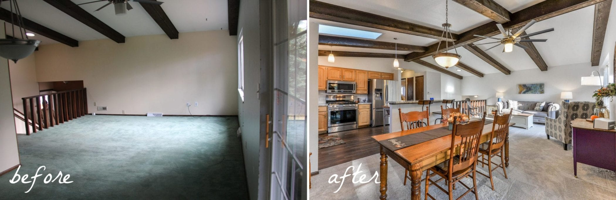 Bi-level renovation before and after