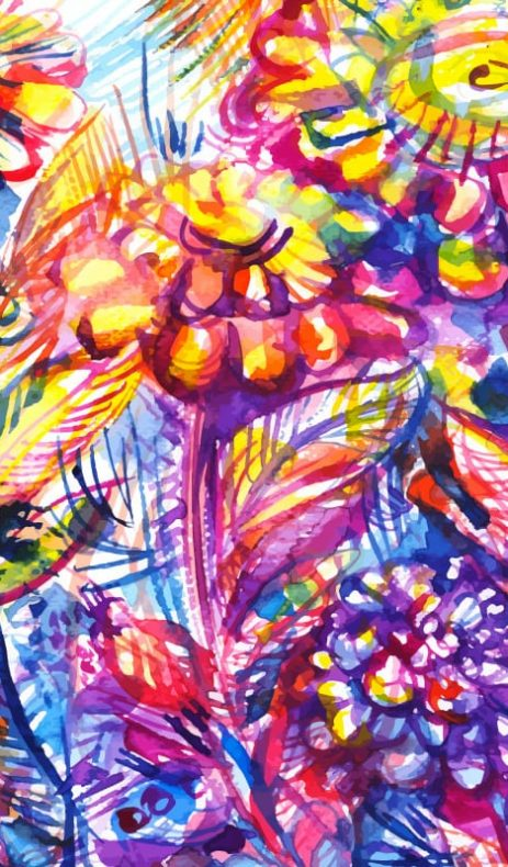 bright abstract flower watercolor