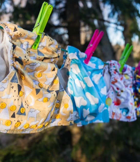 cloth diapers drying on clothesline